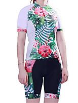 Sport Fahrradtriktot mit Fahrradhosen Damen Kurze Ärmel FahhradAtmungsaktiv / Rasche Trocknung / Anatomisches Design / UV-resistant /