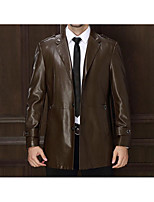 Men's Casual/Daily Simple Jackets,Solid Long Sleeve Winter Black / Brown / Green Polyester Medium
