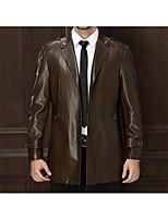 Мужчины На каждый день Однотонный КурткаПростое Зима Черный / Коричневый / Зеленый Длинный рукав,Полиэстер,Средняя
