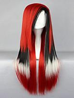 80cm style lolita couleur long cheveux raides mélangé rouge perruque cosplay