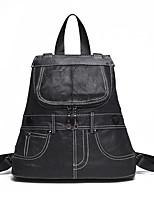 Casual Shopping Backpack Women Cowhide Black