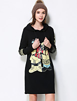 Women's Plus Size / Going out / Casual/Daily Simple / Cute / Street chic Shift Dress,Solid / Animal Print Hooded Above Knee Long Sleeve