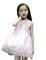 Girl's Casual/Daily Jacquard Dress,Others Summer Pink / White