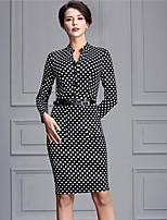 Baoyan Women's Casual/Daily Street chic Sheath DressPolka Dot V Neck Knee-length Long Sleeve Black Polyester Fall Mid Rise Micro-elastic Medium-881401