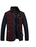 Men's Regular Down Coat,Simple Casual/Daily Solid-Polyester White Duck Down Long Sleeve Red / Green