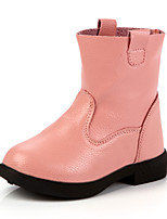 Girl's Boots Fall Winter Comfort PU Casual Flat Heel Zipper Black Brown Pink Walking