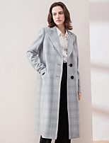 Women's Going out Vintage Coat,Plaid Notch Lapel Long Sleeve Winter Gray Wool / Acrylic / Polyester Thick