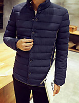Men's Padded Coat,Simple Casual/Daily Solid-Polyester Cotton Long Sleeve Stand Blue