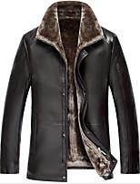 Мужчины На каждый день / Большие размеры Однотонный Кожаные курткиПростое Черный / Коричневый Длинный рукав,Полиуретановая