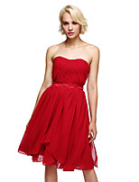 Lanting Bride®Knee-length Chiffon Bridesmaid Dress - Convertible Dress A-line Strapless with Sash / Ribbon