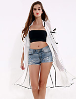 1287 Women's Going out / Casual/Daily Simple Trench CoatSolid Stand Short Sleeve All Seasons White Polyester Thin