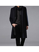 Men's Casual/Daily Simple Trench Coat,Solid Shirt Collar Long Sleeve Winter Blue / Black Wool