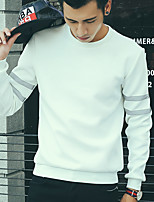 Men's Casual/Daily Simple Sweatshirt,Solid Round Neck Stretchy Cotton Long Sleeve Fall / Winter