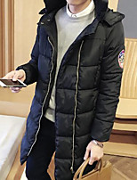Men's Long Padded Coat,Simple Casual/Daily Solid-Polyester Cotton Long Sleeve Black