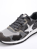 Men's Sneakers Winter Comfort Leatherette Fabric Casual Flat Heel Lace-up Black Green Gray Walking
