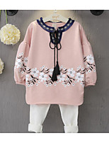 Girl's Casual/Daily Floral Hoodie & Sweatshirt / Clothing SetCotton Spring / Fall White