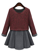 Women's Plus Size / Casual/Daily Simple Loose DressPatchwork Round Neck Above Knee Long Sleeve Red / Green Polyester