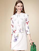 Set Jupe Costumes Femme,Motif Animal Décontracté / Quotidien simple Automne Manches ¾ Col de Chemise Rose Coton Moyen