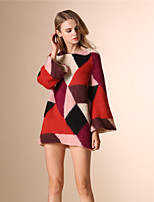 AOKNI Women's Round Neck Long Sleeve Sweater & Cardigan Blue / Red-891