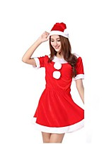 Christmas Cotume /Holiday Halloween Costumes Red Solid Skirt / Hats Christmas Female