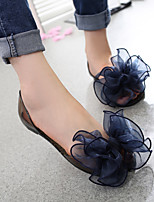 Women's Sandals Summer Comfort PVC Casual Flat Heel Flower Black Pink Walking