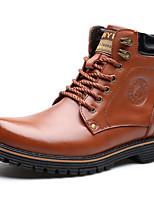 Черный / Коричневый-Мужской-Для прогулок / Для офиса / На каждый день-КожаУдобная обувь-Ботинки