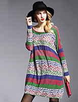 Women's Plus Size / Going out Simple Sweater DressStriped / Print Round Neck Above Knee Long Sleeve Multi-color