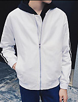 Men's Casual/Daily Simple Jackets,Striped Stand Long Sleeve Fall White Cotton Medium