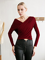 MASKED QUEEN  Women's Going out Simple Spring / FallSolid V Neck Long Sleeve Red / Black Modal Opaque