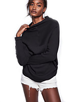 Women's Going out Casual/Daily Vintage Street chic Regular Pullover,Solid Black Round Neck Long Sleeve Wool Spandex Fall Winter Medium