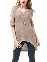 Women's Casual/Daily / Holiday Sexy / Street chic Long Pullover,Solid Black / Brown V Neck Long Sleeve Cotton Fall / Winter Medium