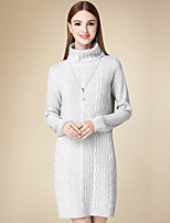 Women's Casual/Daily Simple Sweater Dress,Solid Turtleneck Above Knee Long Sleeve Gray Cotton Winter High Rise Micro-elastic Medium