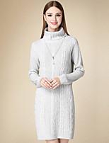 Tricot Robe Femme Décontracté / Quotidien simple,Couleur Pleine Col Roulé Au dessus du genou Manches Longues Gris Coton Hiver Taille Haute