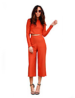 Women's Casual/Daily / Party/Cocktail / Holiday Sexy / Simple All Seasons Set Pant Suits,Solid Round Neck Long Sleeve Orange Polyester