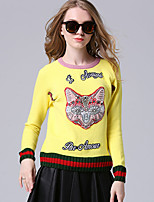 Women's Casual/Daily Sexy Regular PulloverPrint Yellow Round Neck Long Sleeve Rabbit Fur Fall