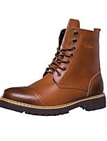 Черный Коричневый Желтый-Мужской-Повседневный-Кожа-На плоской подошве-Удобная обувь-Ботинки
