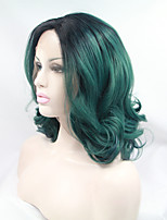 Sylvia Synthetic Lace front Wig Black Roots Green Hair Heat Resistant Middle Length Wavy Synthetic Wigs