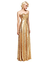 Lanting Bride®Floor-length Sequined Bridesmaid Dress - Sparkle & Shine Sheath / Column Sweetheart with Sequins