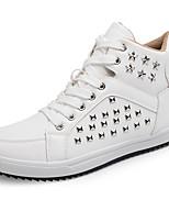 Черный / Белый-Мужской-На каждый день-Дерматин-На плоской подошве-Удобная обувь-Кеды