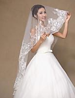 Свадебные вуали Один слой Короткая фата Кружевная кромка Тюль
