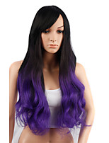 Long Wavy Hair Wig with Bangs Black and Pruple Color Synthetic Wigs for Women