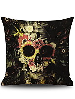 Halloween Flowers & Skull Head  Linen Decorative Throw Pillow Case Cushion Cover Romantic Horror