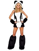 Women Animal Costumes Sexy White Panda Cosplay Halloween Costumes (TopSkirtGlovesLegwear)