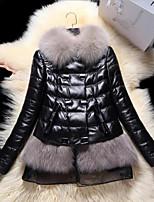 אחיד צווארון עגול פשוטה יום יומי\קז'ואל מעיל פרווה נשים,אדום / שחור שרוול ארוך סתיו / חורף בינוני (מדיום) פרוות שועל / עור כבש