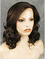 IMSTYLE 16''Beautiful Natural Mix Brown Medium Wave Synthetic Lace Front Wig High Heat Resistant Fiber
