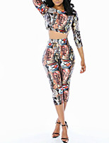 Women's Going out / Casual/Daily Simple Fall / Winter Set PantPrint Shirt Collar Long Sleeve Multi-color Polyester