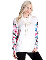 Women's Casual/Daily / Sports Vintage / Simple Fashion Slim Regular HoodiesFloral White Hooded Long Sleeve Spring / Fall Medium