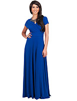 Women's Plus Size / Casual/Daily Simple / Street chic Slim Ruched Sheath DressSolid V Neck Maxi Short Sleeve