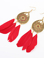 Women European Style Fashion Bohemian Droplets Flower Feather Tassels Drop Earrings