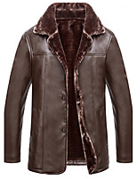 Men's Casual/Daily Simple Leather JacketsSolid Stand Long Sleeve Fall / Winter Black PU Thick